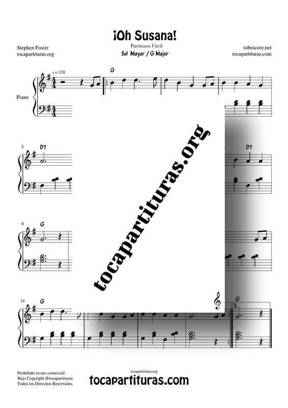 ¡Oh Susana! Partitura PDF y MIDI Fácil de Piano en Sol Mayor