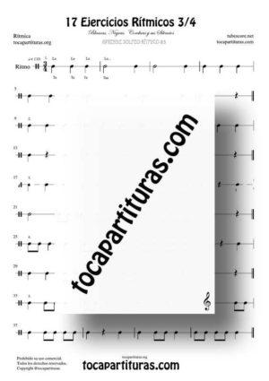 17 Ejercicios de Ritmos Músicales Compás 3/4 Partitura PDF/MIDI de 3 tiempos con Negras, Corcheas, Blancas y sus Silencios