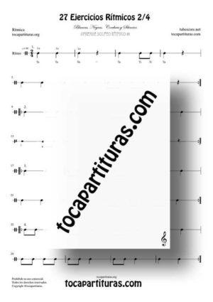 27 Ejercicios de Ritmos Músicales Partitura PDF/MIDI Compás 2/4 de 2 tiempos con Negras, Corcheas, Blancas y sus Silencios