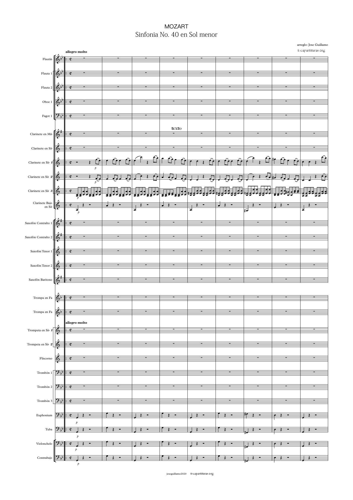 40 Sinfonía GUION Partitura de Banda de Música VENTA PDF y MIDI