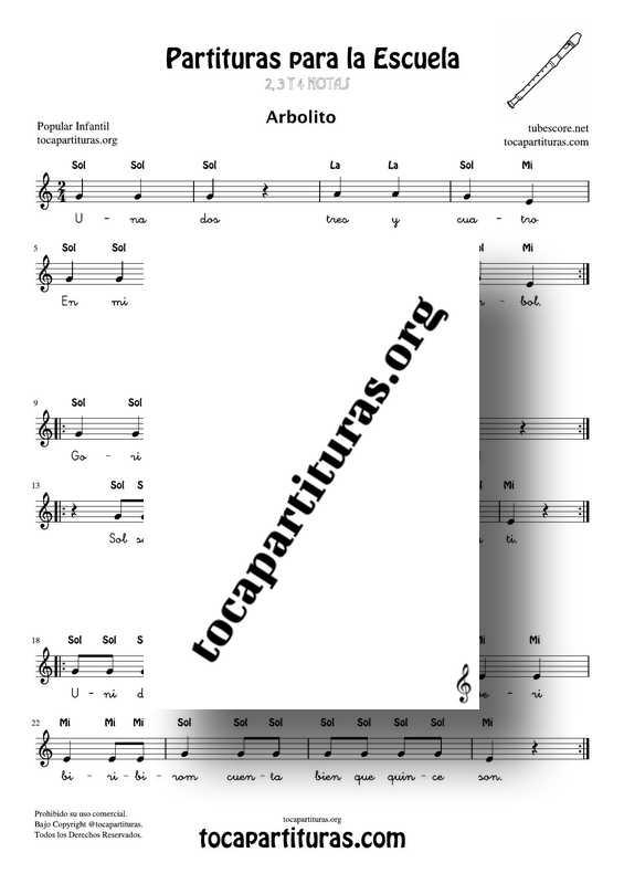 Mini Pack 6 Canciones Infantiles con pocas notas para cantar y tocar en clases de Música Partituras con Notas y Letra