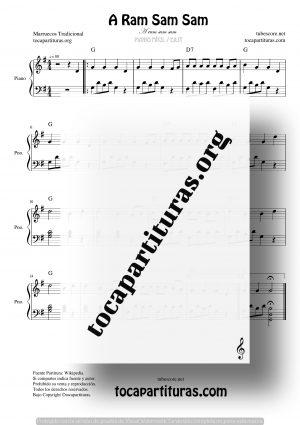 A Ram Sam Sam Partitura de Piano Fácil (Canción Infantil)