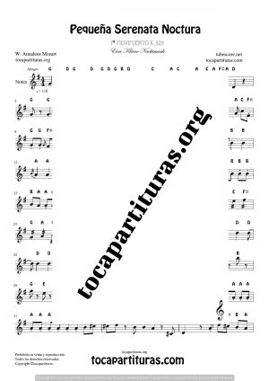 A Little Night Music K. 525 Notes Sheet Music for Treble Clef (Violín, Oboe, Flute, Recorder…)