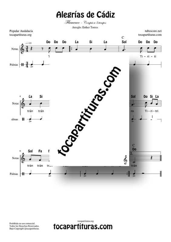 Alegrías de Cádiz Flamenco Partitura con Notas y Palmas Flamenco Partitura PDF y MIDI para profesores maestros de música en clases