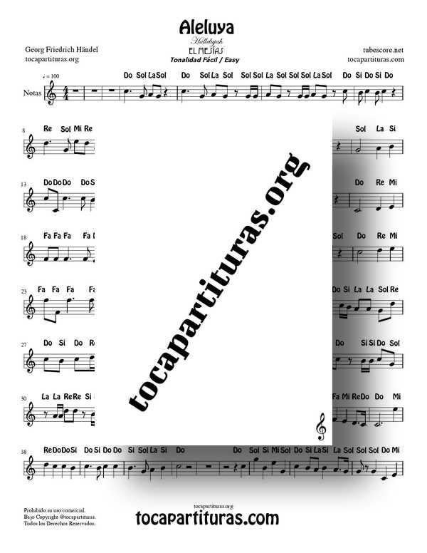 Aleluya de Handel PDF y MIDI Partitura Fácil con Notas en Do Mayor Flauta Violin Oboe