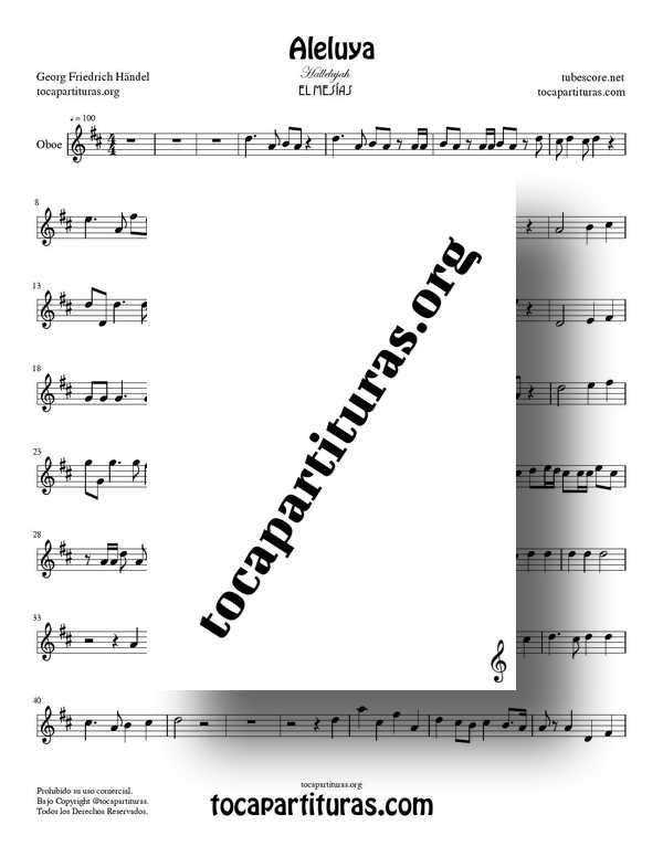 Aleluya de Handel PDF MIDI de El Messiah Partitura de Oboe