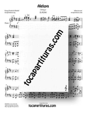 Aleluya de Handel Partitura de Piano Solo (Hallelujah Messiah)