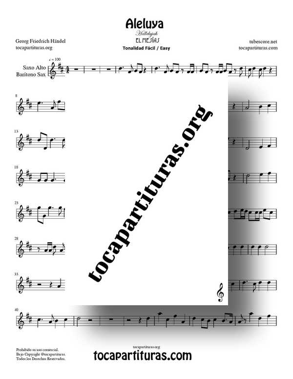 Aleluya de Handel PDF MIDI de El Messiah Partitura de Saxofón Alto y Barítono Sax Tonalidad Fácil