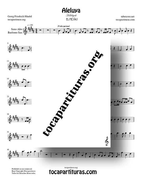 Aleluya de Handel PDF MIDI de El Messiah Partitura de Saxofón Alto y Barítono Sax Tonalidad Original