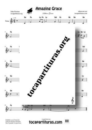 Amazing Grace Partitura PDF y MIDI en Fa Mayor (F) con Notas en letra en Clave de Sol (Flauta, Violin, Oboe, Trompeta, Clarinete…)