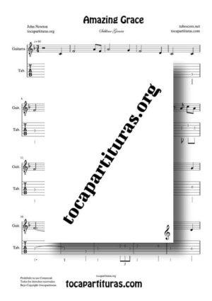 Amazing Grace PDF y MIDI Partitura y Tablatura en Fa Mayor (F) del Punteo de Guitarra (Guitar Tabs)