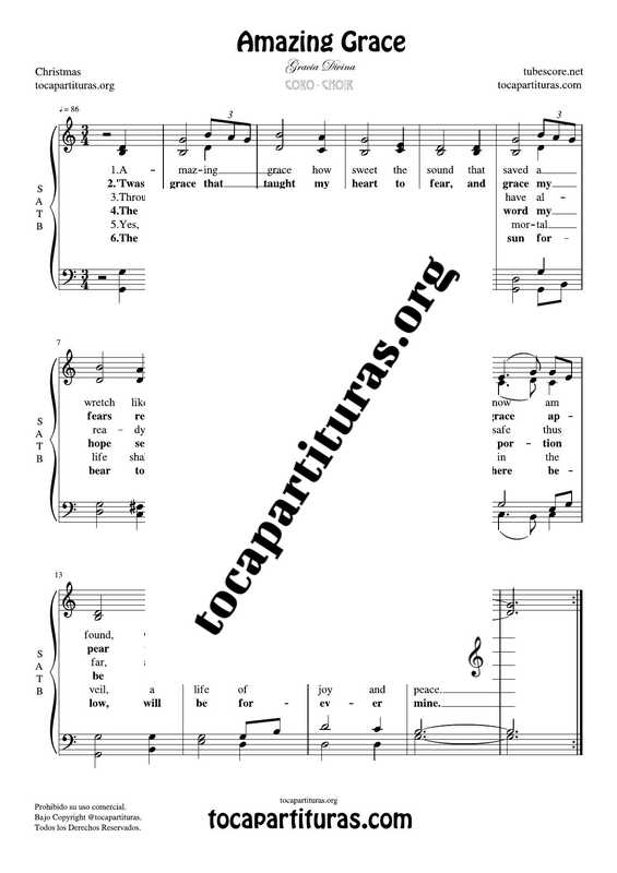 Amazing Grace Chorus PDF MIDI Sheet Music for 4 voice SATB Choir CORO Sublime Gracia