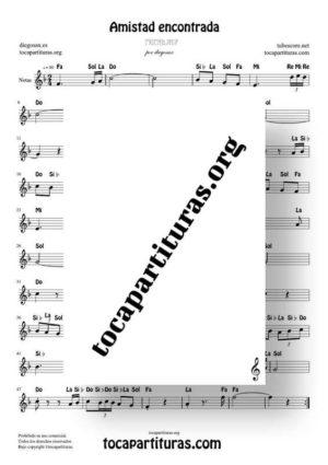 Amistad Encontrada de diegosax Partitura Fácil con Notas en letra en Clave de Sol