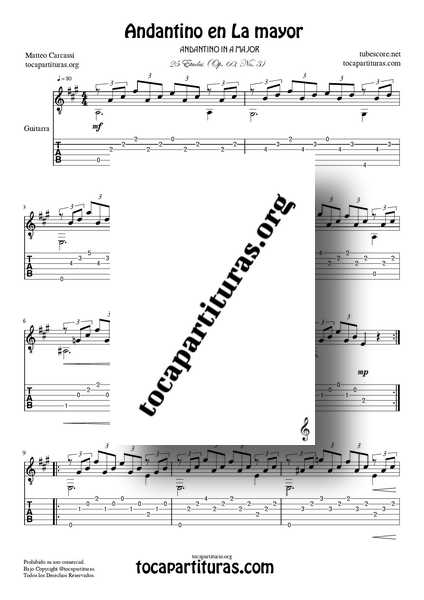 Andantino en La Mayor Op. 60 No. 3 Partitura PDF MIDI de Guitarra 01