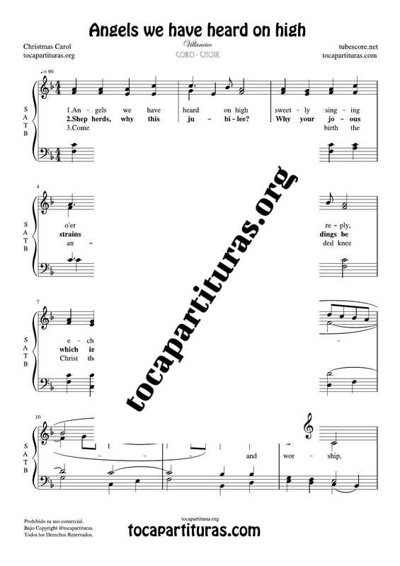 Angels we have heard on high Chorus PDF MIDI Sheet Music for 4 voice SATB CORO