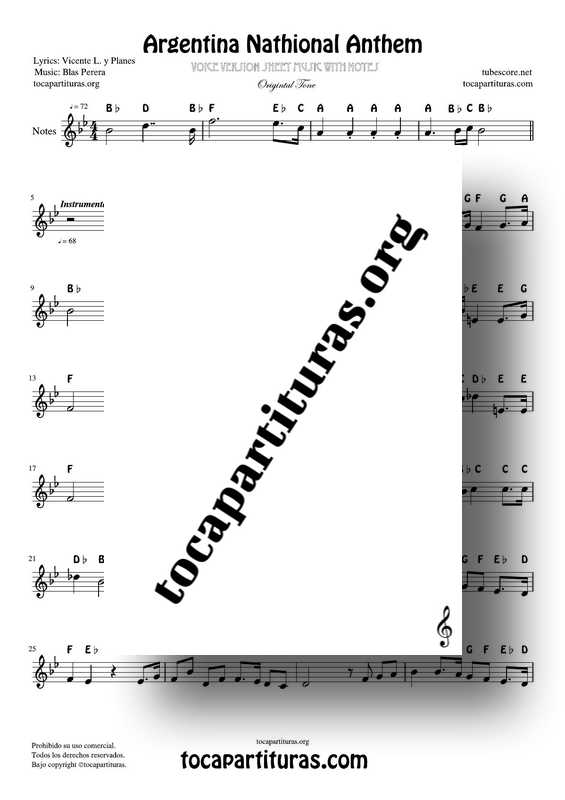 Argentina Nathional Anthem Version Notes Sheet Music for Flute Violin Recorder Oboe... Trable clef_000001