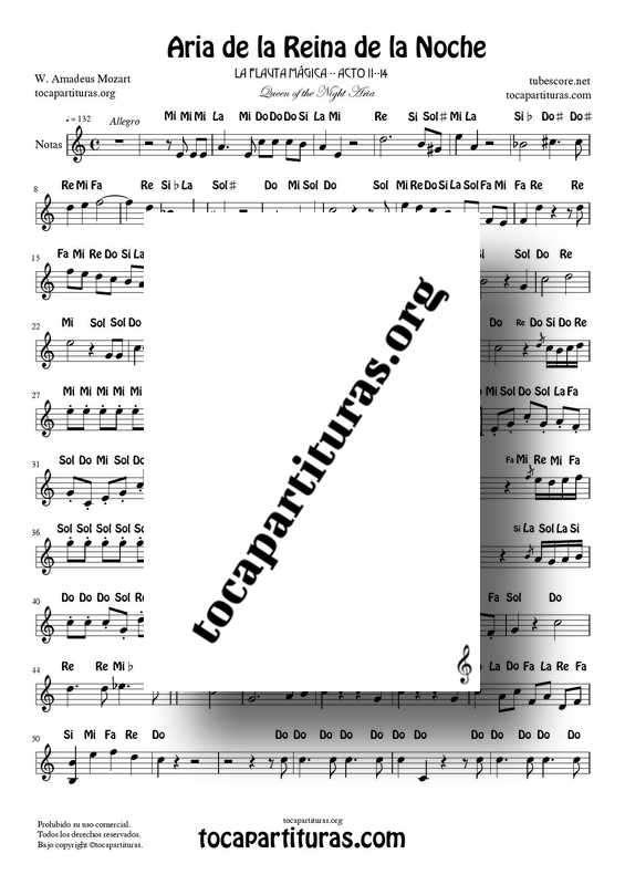 Aria de la Reina de la Noche PDF MIDI Partitura Fácil con Notas (La Flauta Mágica) Flautas Violin Oboe...Tonalidad Original La menor