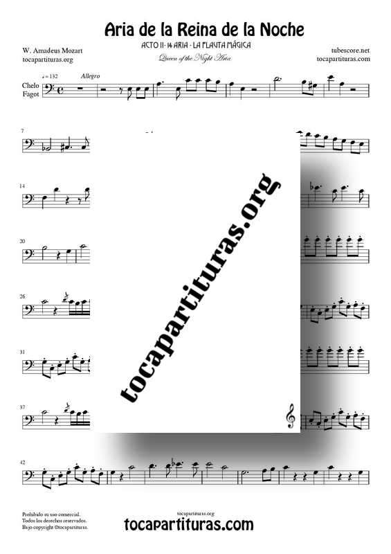 Aria de la Reina de la Noche PDF/MIDI Partitura de Chelo y Fagot (La Flauta Mágica) Tonalidad Fácil La m