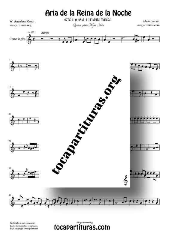 Aria de la Reina de la Noche PDF MIDI Partitura de Corno Inglés (La Flauta Mágica) Tonalidad Fácil La menor