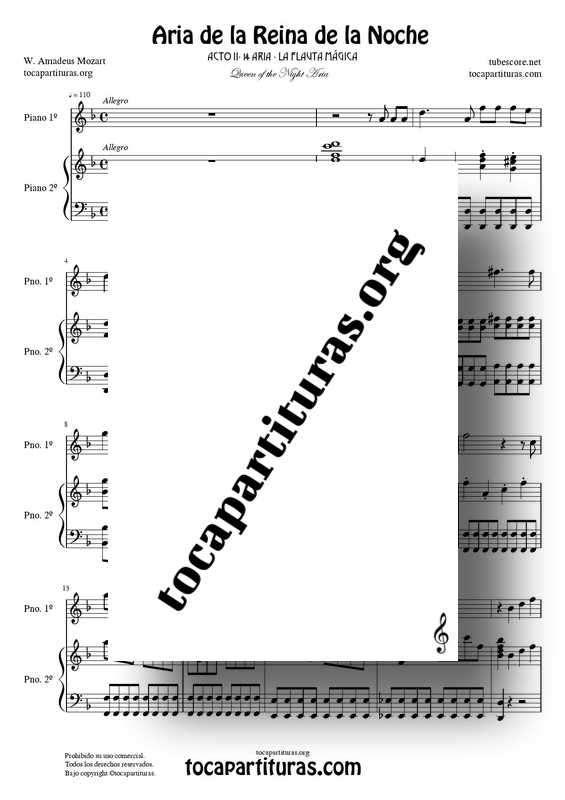 Aria de la Reina de la Noche Partitura de Piano PDF y MIDI (La Flauta Mágica) Tonalidad Original Re m