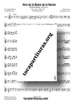Aria de la Reina de la Noche (La Flauta Mágica) Partitura de Solfeo (Entonación y Ritmo)