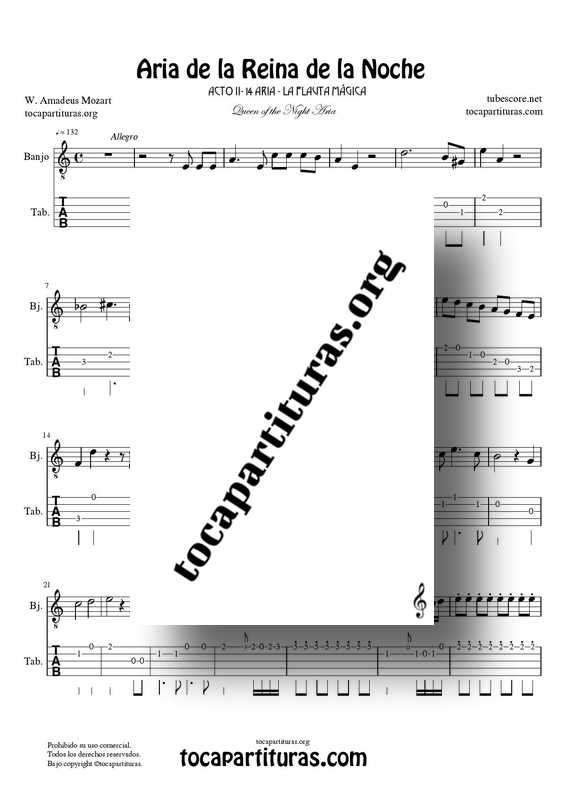 Aria de la Reina de la Noche PDF MIDI Partitura y Tablatura del Punteo de Banjo (La Flauta Mágica) Tonalidad Original Mi m