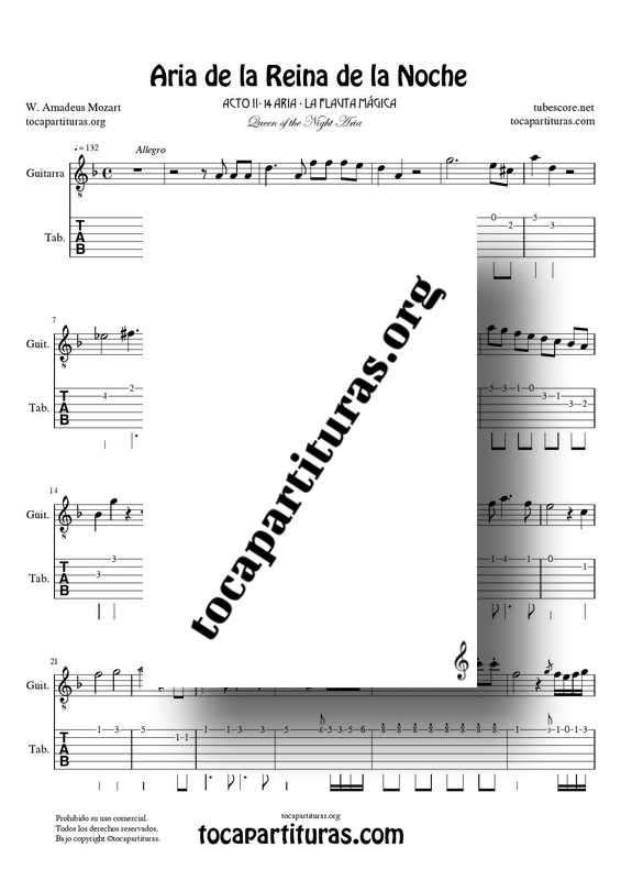 Aria de la Reina de la Noche PDF y MIDI Partitura y Tablatura del Punteo de Guitarra (La Flauta Mágica) Tonalidad Original Re m