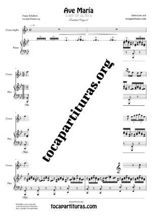 Ave María (Schubert) Partitura de Dúo de Corno Inglés (English Horn) Melodía y Piano Acompañamiento