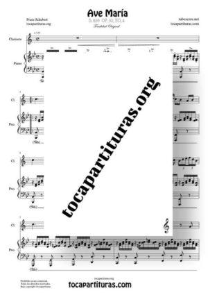Ave María (Schubert) Partitura de Dúo de Clarinete (Clarinet) Melodía y Piano Acompañamiento