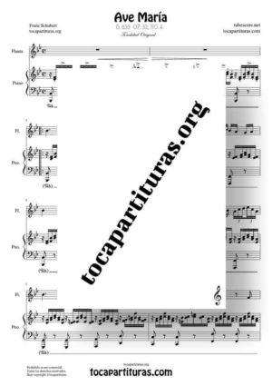 Ave María (Schubert) Partitura de Dúo de Flauta Travesera (Flute) Melodía y Piano Acompañamiento
