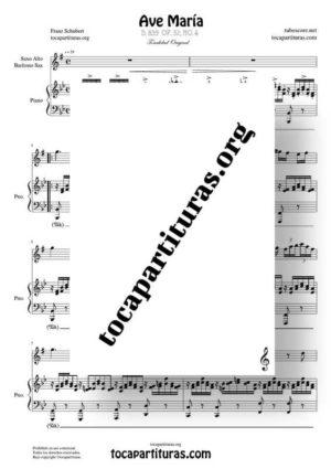 Ave María (Schubert) Partitura de Dúo de Saxofón Alto / Saxo Barítono (Saxophone) Melodía y Piano Acompañamiento