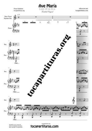 Ave María (Schubert) Partitura de Dúo de Saxofón Tenor / Soprano Sax Melodía y Piano Acompañamiento