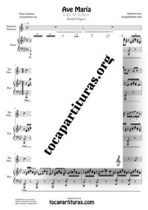 Ave María (Schubert) Partitura de Dúo de Trompeta / Fliscorno (Trumpet / Flugelhorn) Melodía y Piano Acompañamiento