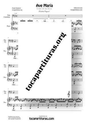 Ave María (Schubert) Partitura de Dúo de Tuba / Contrabajo (Contrabass) Melodía y Piano Acompañamiento