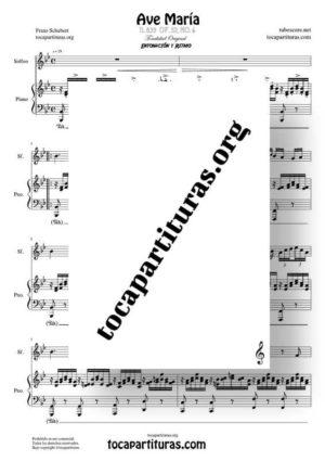 Ave María (Schubert) Partitura de Dúo de Solfeo (Entonación y Ritmo) Melodía y Piano Acompañamiento