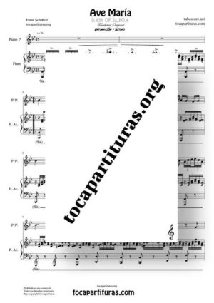 Ave María (Schubert) Partitura a Dos Pianos De Dúo  (Melodía + Piano Acompañamiento)