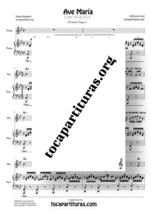 Ave María (Schubert) Partitura de Dúo con Notas en letra Flauta, Violin, Oboe, Trompeta, Clarinete… (Melodía) y Piano Acompañamiento