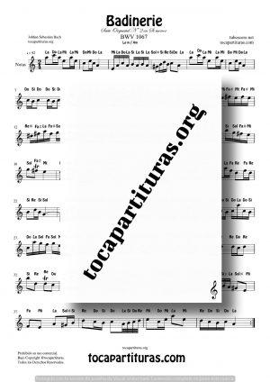 Badinerie Partitura con Notas en La Menor de Johann Sebastian Bach