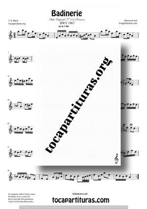 Badinerie de Bach Partitura para Corno Inglés (English Horn) en Sol menor
