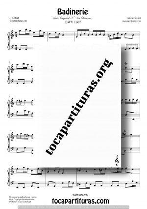 Badinerie de Bach Partitura para Piano Fácil en La menor