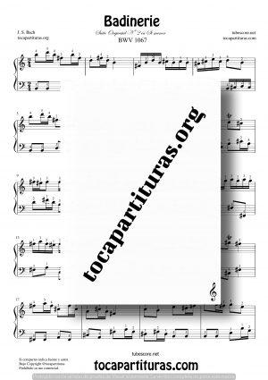 Badinerie de Bach Partitura para Piano Fácil en Si menor con Digitación en Números