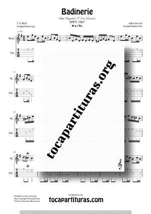 Badinerie de Bach Partitura y Tablatura de Banjo en Mi menor