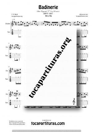 Badinerie de Bach Partitura y Tablatura de Ukelele en Mi menor