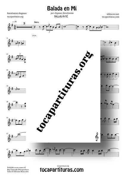 Balada en Mi Partitura PDF MIDI MP3 de Saxofon Sheet Music for Alto Saxophone por diegosax 1