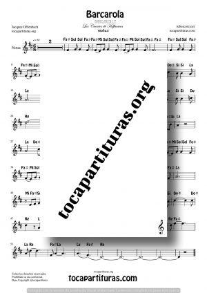Barcarola (Offenbach) Partitura con Notas en letra en Clave de Sol Tono Original