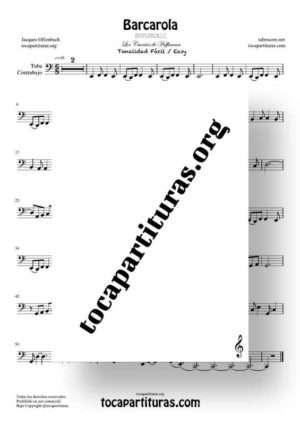 Barcarola Tonalidad Fácil (Offenbach) Partitura de Chelo / Fagot (Cello/Bassoon)