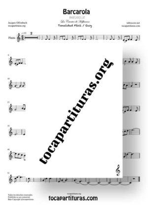 Barcarola Tonalidad Fácil (Offenbach) Partitura de Flauta Dulce o Flauta de Pico (Recorder)