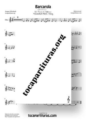 Barcarola Tonalidad Fácil (Offenbach) Partitura de Oboe