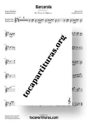 Barcarola Tonalidad Fácil (Offenbach) Partitura de Saxofón Alto / Saxo Barítono