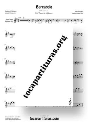 Barcarola Tonalidad Fácil (Offenbach) Partitura de Saxofón Tenor / Soprano Sax